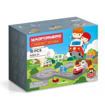 Magformers Town Set - City Bus (16 Pieces)