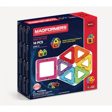 Magformers - Basic Set Line (14 pcs), Magnetic Toys